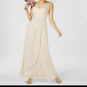 Adrianna Papell Ruched Embellished Gown Blush